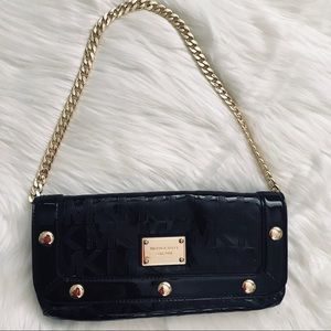Michael Kors Black Clutch with Gold Chain